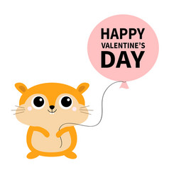 happy valentines day hamster toy icon holding vector image