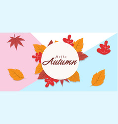 hello autumn falling leaves circle frame backgroun vector image