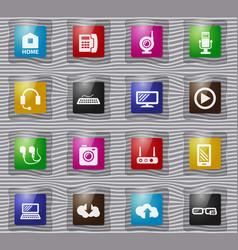 hi tech glass icons set vector image