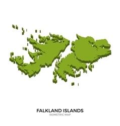 Isometric map of Falkland Islands detailed vector image