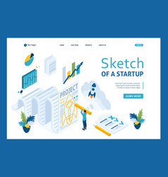 isometric sketch a startup and design businessman vector image