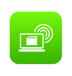 laptop and and wireless icon digital green vector image