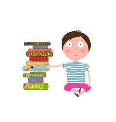 Little boy sitting by pile of books vector