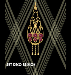 Luxurious art deco jewel earring with red gems vector