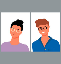 Man and woman in glasses smiling people on photo vector