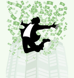 man in rain of money vector image
