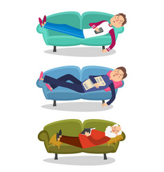 Man sleep on sofa sleeping vector