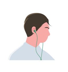 man with earphones or earbuds flat design icon vector image