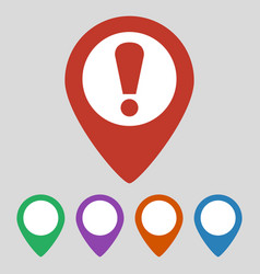 map pointer with attention sign on grey background vector image