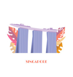 marina bay sands building singapore landmark vector image