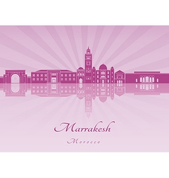 Marrakesh skyline in purple radiant orchid vector
