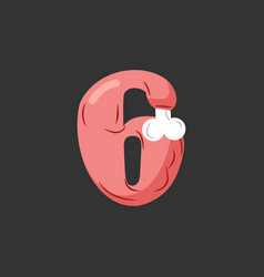 Number 6 meat pork and bone font six ham alphabet vector
