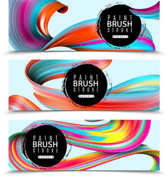 Paint brush strokes horizontal banners vector