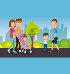 parents with kids in the park vector image
