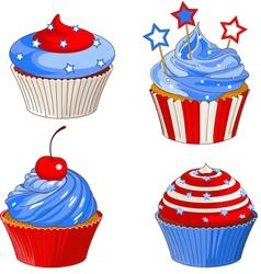 Patriotic cupcakes vector image