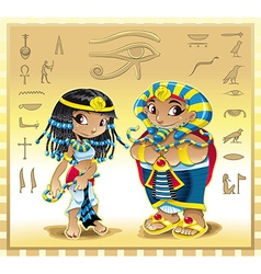 Pharaoh and Cleopatra with background vector