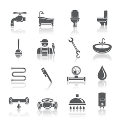 Plumbing tools pictograms set vector