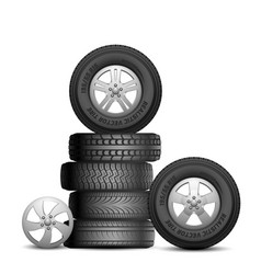 Rubber tires isolated realistic car wheels aito vector