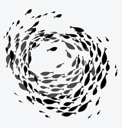 School of fish a group of silhouette fish swim vector