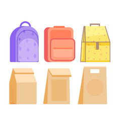 Schoolkid meal bag for dinner kit isolated on vector