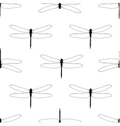 seamless background with black lineart dragonflies vector image