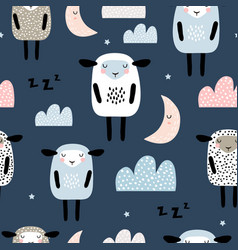 seamless pattern with cute sleeping sheep moon vector image