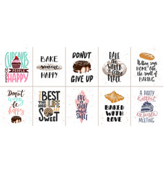Set bakery and sweet food lettering posters vector