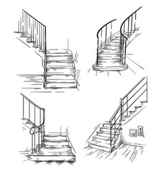 Set hand drawn staircases interior design vector