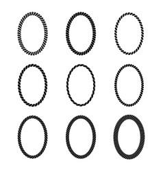 set monochrome black oval rope frame vector image
