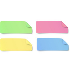 Set of color rectangular oblong paper stickers vector image