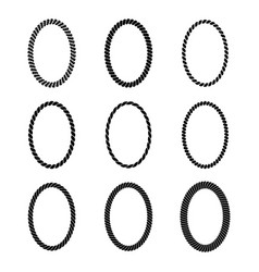 set of monochrome black oval rope frame vector image vector image