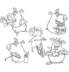 set of pigs Coloring book vector image