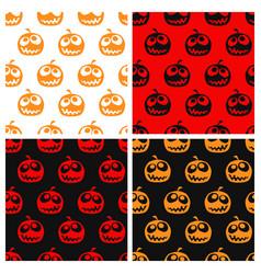 Set of seamless halloween pattern vector