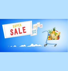 Shopping cart with foodstuff vector