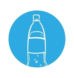 Silhouette soda bottle bubbles blue circle vector