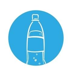 silhouette soda bottle bubbles blue circle vector image