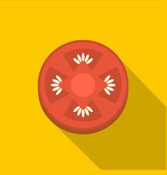 Slice of ripe tomato icon flat style vector