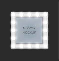 Square make-up mirror with light bulbs frame vector