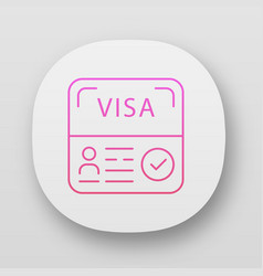 Start up visa app icon temporary residence permit vector