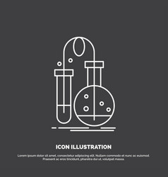 testing chemistry flask lab science icon line vector image