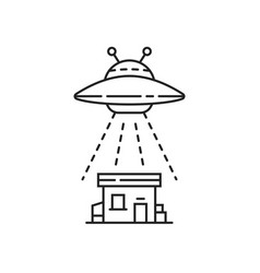 Thin line black ufo with house vector