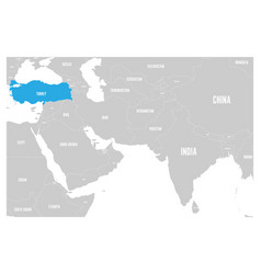 Turkey blue marked in political map south asia vector