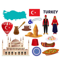 Turkey culture travel set vector