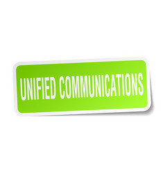 unified communications square sticker on white vector image