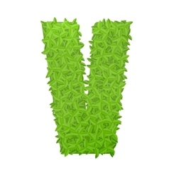 Uppecase letter V consisting of green leaves vector image