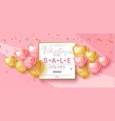 valentines day sale design with pink and gold vector image