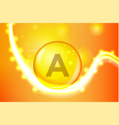 vitamin a gold shining pill capcule icon vitamin vector image