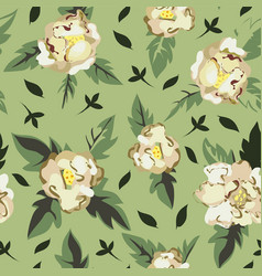 white peony in blossom green seamless pattern vector image