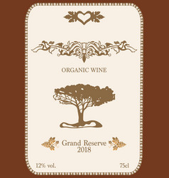 wine label with organic ornament vector image