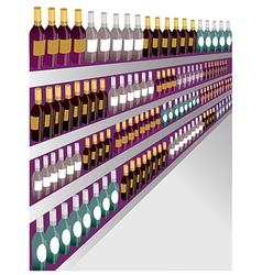 Wine shelf Bottles vector
